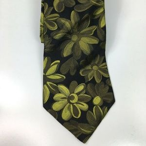 Ted Baker London Black Yellow Floral Print Tie 3.5
